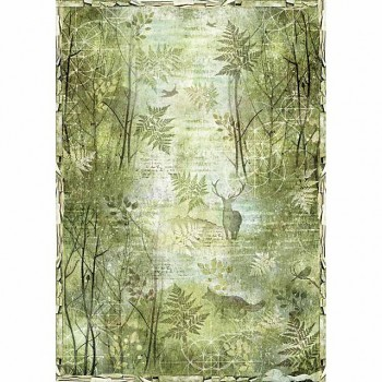 Rice decoupage paper A3 / Green Forest