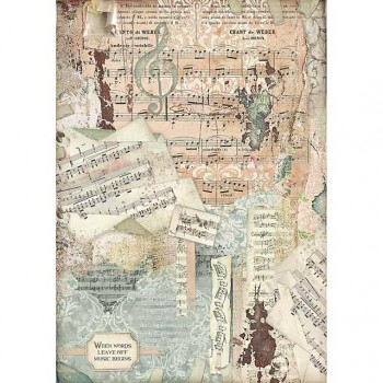 Rice decoupage paper A3 / Music