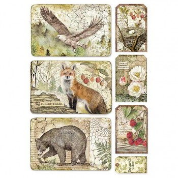 Reispapier A4 / Forest framed eagle, bear, fox