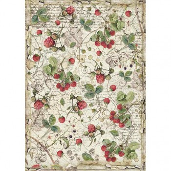 Rice decoupage paper A4 / Forest raspberry