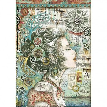 Ryžový papier na decoupage A4 / Sea Worl lady with compass