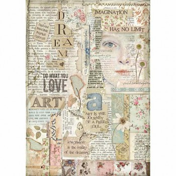 Rice decoupage paper A4 / Love Art