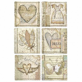 Rice decoupage paper A4 / Heart Frames