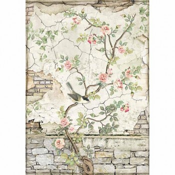 Rice decoupage paper A4 / Little bird on branch