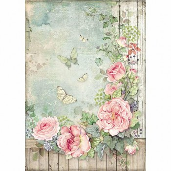 Rice decoupage paper A4 / Roses garden with fence