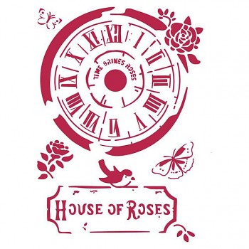 Schablone / A4 / Clock House of Roses