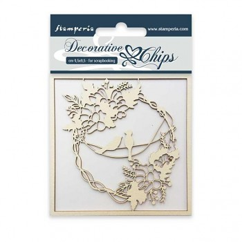 Chipboards - Garland with birds / 9.5 x 9.5cm