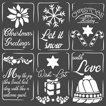 Schablone / 18x18cm / Christmas tags