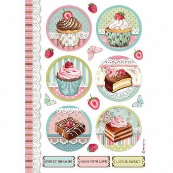 Ryžový papier na decoupage A4 / Round mini cake
