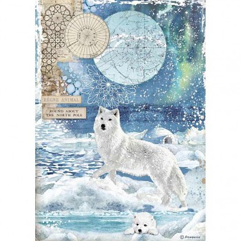 Rice decoupage paper A4 / Wolf