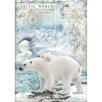 Ryžový papier na decoupage A4 / Artic World polar bears