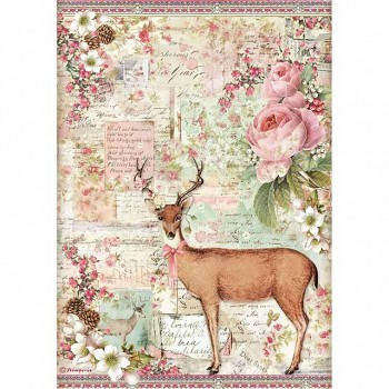 Rice decoupage paper A4 / Christmas deer