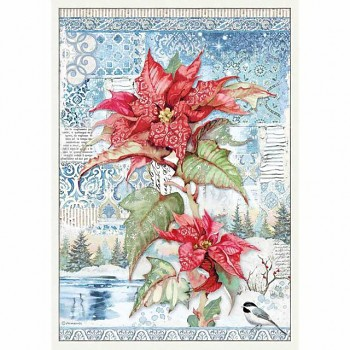 Rice decoupage paper A3 / Poinsettia red