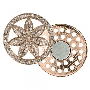 Decorative brooch megnetic flower 45mm - rose gold