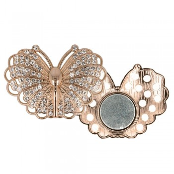 Decorative brooch megnetic butterfly 45mm - rose gold