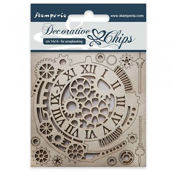 Chipboards - Gears and Clocks / 14x14cm