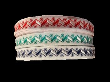 Scalloped jacquard ribbon 15 mm / 1m / red