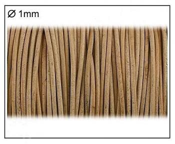 Kožená šnúrka / 1mm / prírodná / 3m
