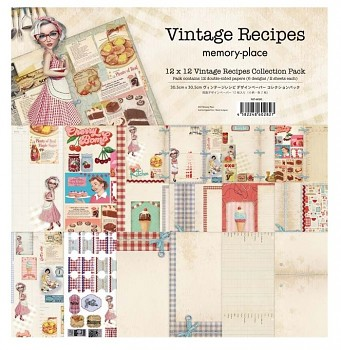 Vintage Recipes 12x12 / sada papierov