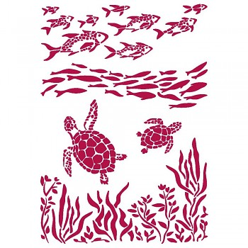 Stencil / A4 / Romantic Sea Dream Fish and Turtles