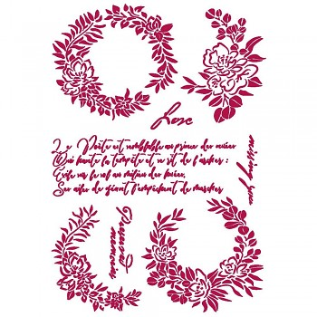 Stencil / A4 / Romantic Journal Garlands Love