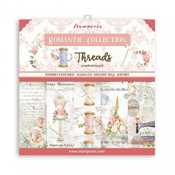"Romantic Threads / 12x12"" / Sada scrapbookových papierov"