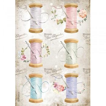 Ryžový papier na decoupage A4 / Romantic Threads Needle & Thread