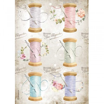 Papier ryżowy decoupage A4 / Romantic Threads Needle & Thread