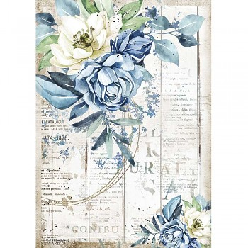 Ryžový papier na decoupage A4 / Romantic Sea Dream Blue Flower