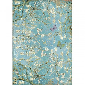 Papier ryżowy decoupage A4 / Atelier Blossom Blue Background with Butterfly