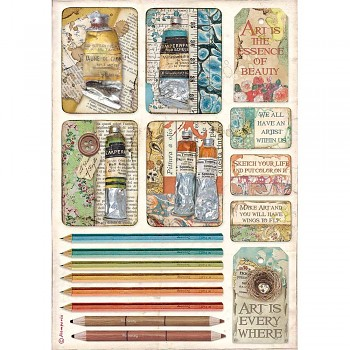 Ryžový papier na decoupage A4 / Atelier Tubes of Paints and Pencils