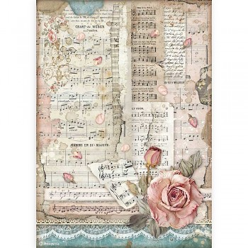 Ryžový papier na decoupage A4 / Passion Roses And Music