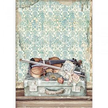 Ryžový papier na decoupage A4 / Passion Violin and Travelling
