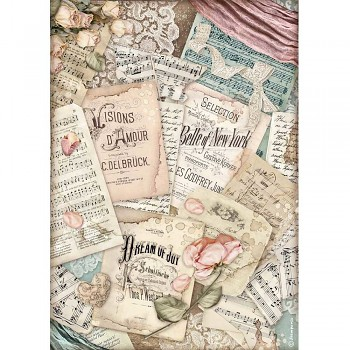 Ryžový papier na decoupage A4 / Passion Vision d'Amour
