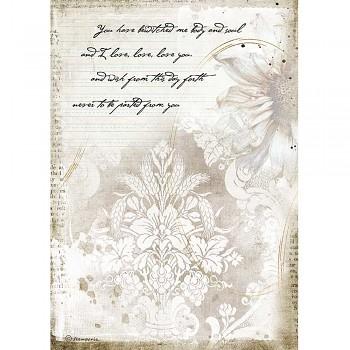Ryžový papier na decoupage A4 / Romantic Journal Manuscrips