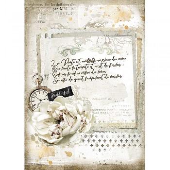 Ryžový papier na decoupage A4 / Romantic Journal Manuscript and Clock