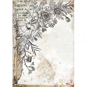 Ryžový papier na decoupage A4 / Romantic Journal Stylized Flower