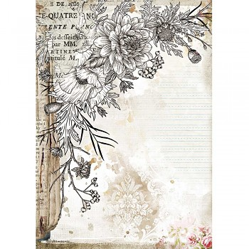 Papier ryżowy decoupage A4 / Romantic Journal Stylized Flower