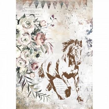 Ryžový papier na decoupage A4 / Romantic Horses Running Horse