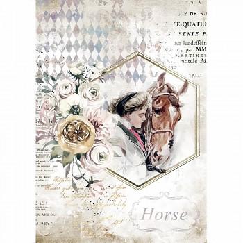 Ryžový papier na decoupage A4 / Romantic Horses Lady Frame