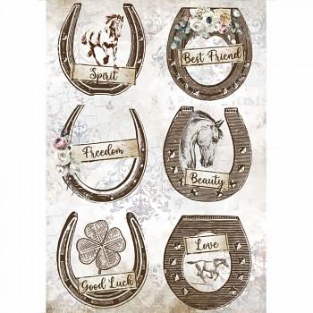 Ryžový papier na decoupage A4 / Romantic Horses Horseshoes