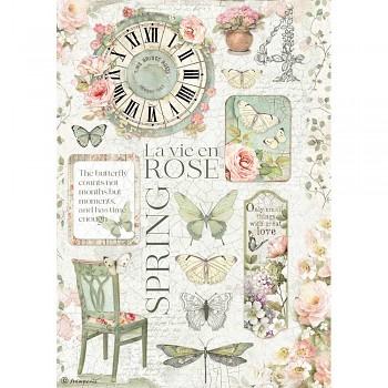Ryžový papier na decoupage A4 / La Vie en Rose