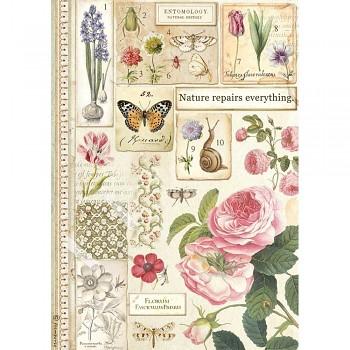 Ryžový papier na decoupage A4 / Botany
