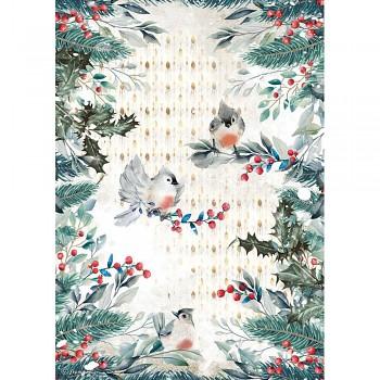 Ryžový papier na decoupage A4 / Romantic Christmas Birds
