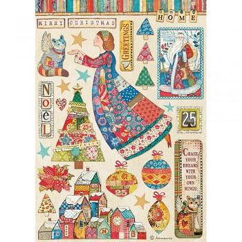 Ryžový papier na decoupage A4 / Christmas Patchwork Elements
