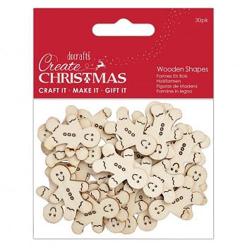 Drevené výrezy - Mini Gingerbread Men Natural / 30ks