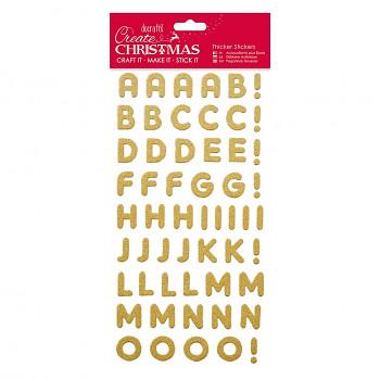 3D glitrové samolepky / abeceda / zlatá