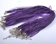 Náhrdelník organza + voskovaná šnúrka / tmavo fialový