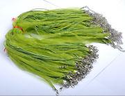Náhrdelník organza + voskovaná šnúrka / sv.zelený