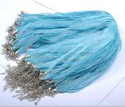 Náhrdelník organza + voskovaná šnúrka / sv.modrá